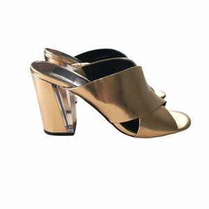 Dolce Vita Metallic Gold Block Heel Sandal Sz 8.5